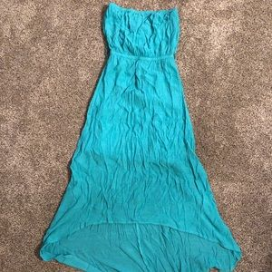 Teal strapless dress